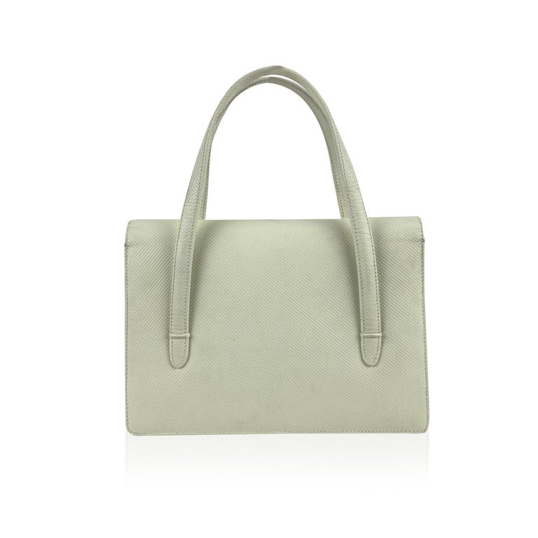 Gucci Vintage White Leather Handbag Top Handles Double Flap Bag In Excellent Condition For Sale In Rome, Rome