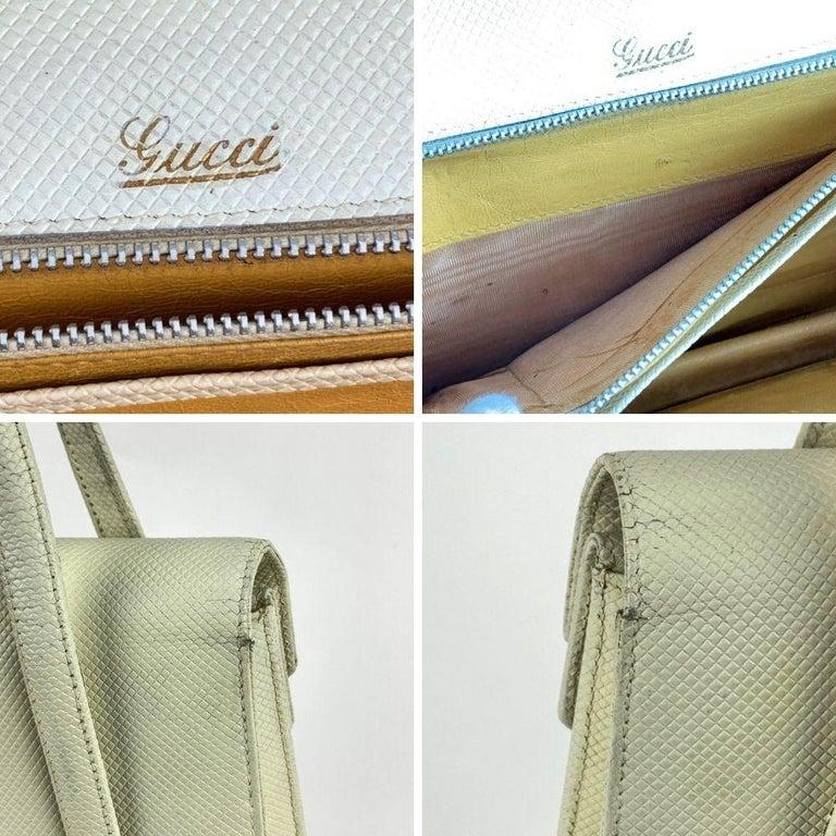 Women's Gucci Vintage White Leather Handbag Top Handles Double Flap Bag For Sale