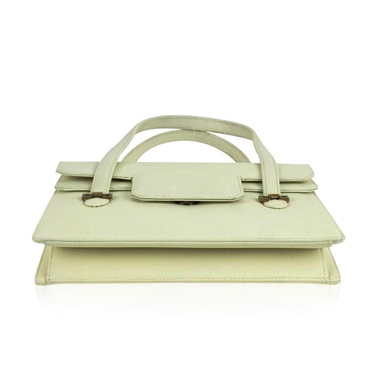 Gucci Vintage White Leather Handbag Top Handles Double Flap Bag For Sale 1