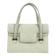 Gucci Vintage White Leather Handbag Top Handles Double Flap Bag