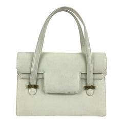 Gucci Vintage White Leather Handbag Top Handles Double Flap Bag