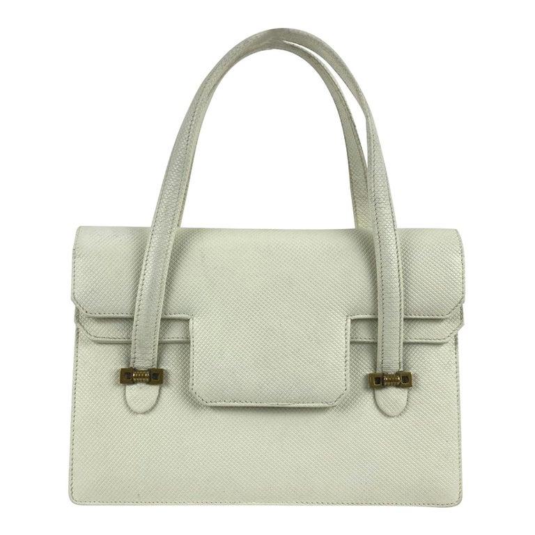 Gucci Vintage White Leather Handbag Top Handles Double Flap Bag For Sale