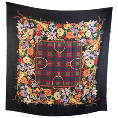 Gucci Vintage Wool and Silk Large Shawl Maxi Scarf Floral Ribbons