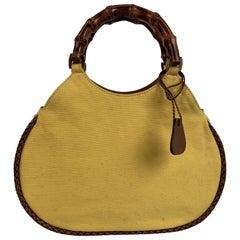 Gucci Vintage Yellow Canvas Small Bamboo Tote Bag Handbag