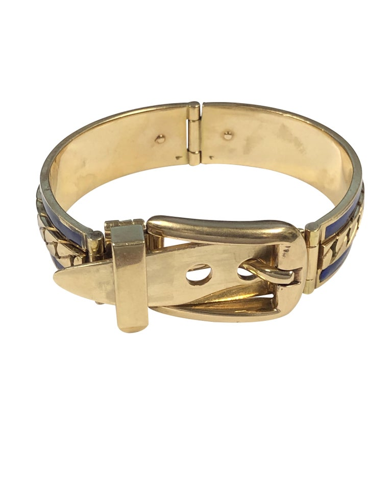 Gucci Vintage Yellow Gold and Enamel Buckle Bangle Bracelet In Excellent Condition For Sale In Chicago, IL