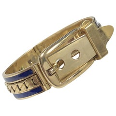 Gucci Vintage Yellow Gold and Enamel Buckle Bangle Bracelet