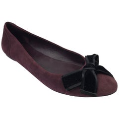 Gucci Viola Purple Suede Flats with Velvet Bow - 38.5