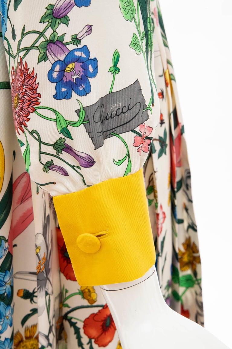 Gucci Vittorio Accornero Flora Fauna Screen Printed Silk Dress, Circa: 1970's For Sale 6