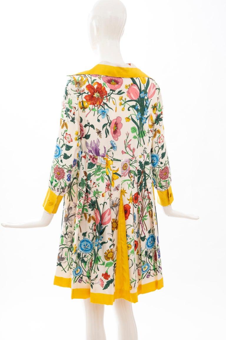 Gucci Vittorio Accornero Flora Fauna Screen Printed Silk Dress, Circa: 1970's For Sale 7