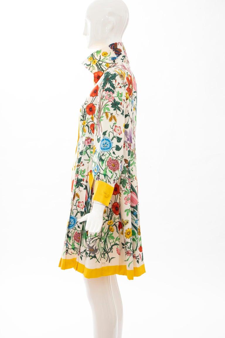 Gucci Vittorio Accornero Flora Fauna Screen Printed Silk Dress, Circa: 1970's For Sale 9