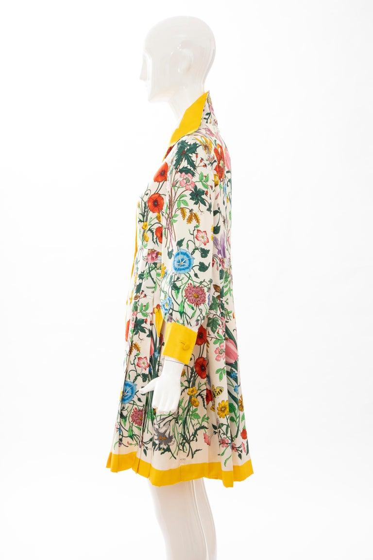 Gucci Vittorio Accornero Flora Fauna Screen Printed Silk Dress, Circa: 1970's For Sale 10