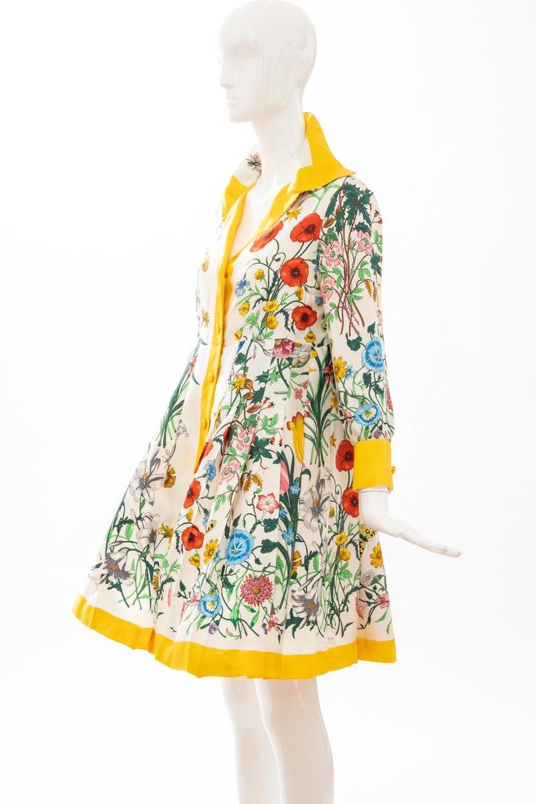 Gucci Vittorio Accornero Flora Fauna Screen Printed Silk Dress, Circa: 1970's For Sale 11
