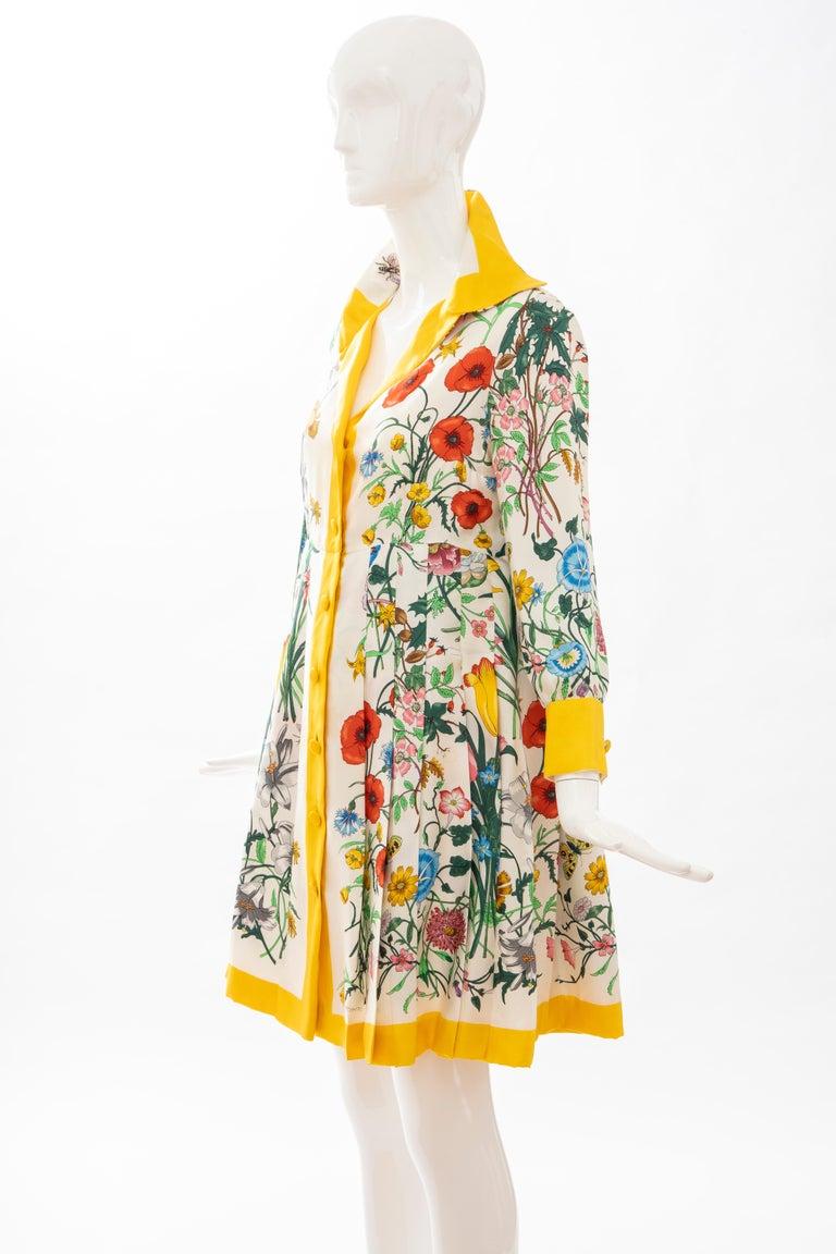 Gucci Vittorio Accornero Flora Fauna Screen Printed Silk Dress, Circa: 1970's For Sale 12
