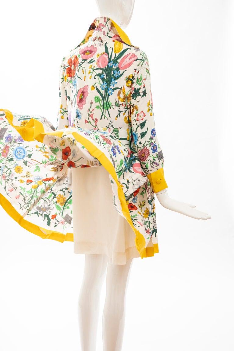 Gucci Vittorio Accornero Flora Fauna Screen Printed Silk Dress, Circa: 1970's For Sale 13