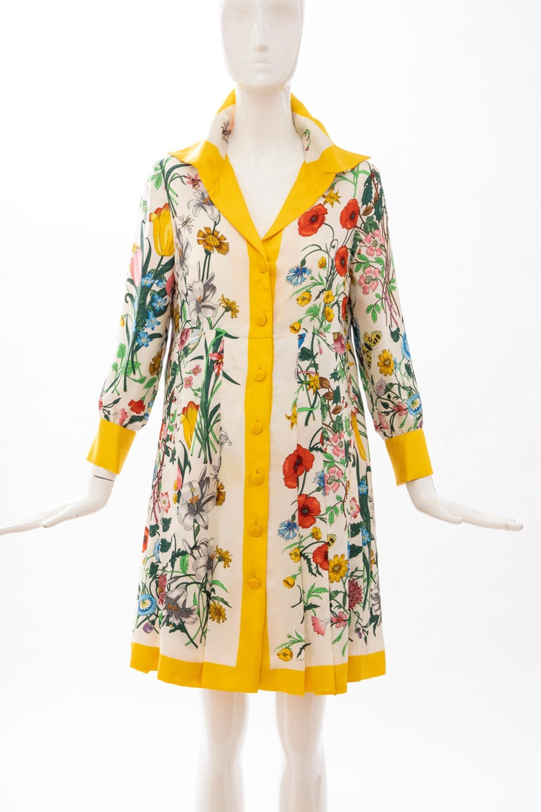 Gucci, Circa: 1970's Vittorio Accornero, Flora Fauna screen printed silk, yellow button front dress with pleated A-line skirt and fully lined in lightweight silk.  IT. 48, US. 12  Bust: 36, Waist: 35, Hip: 48, Shoulder: 15.5, Sleeve: 21, Length:
