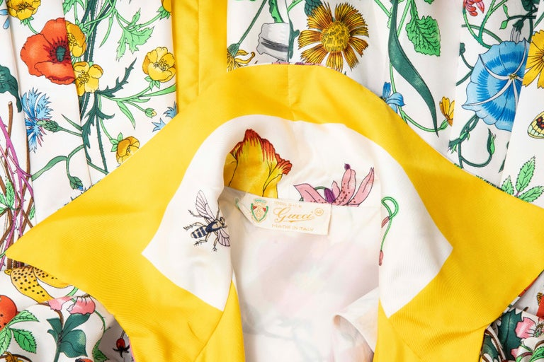Gucci Vittorio Accornero Flora Fauna Screen Printed Silk Dress, Circa: 1970's For Sale 15