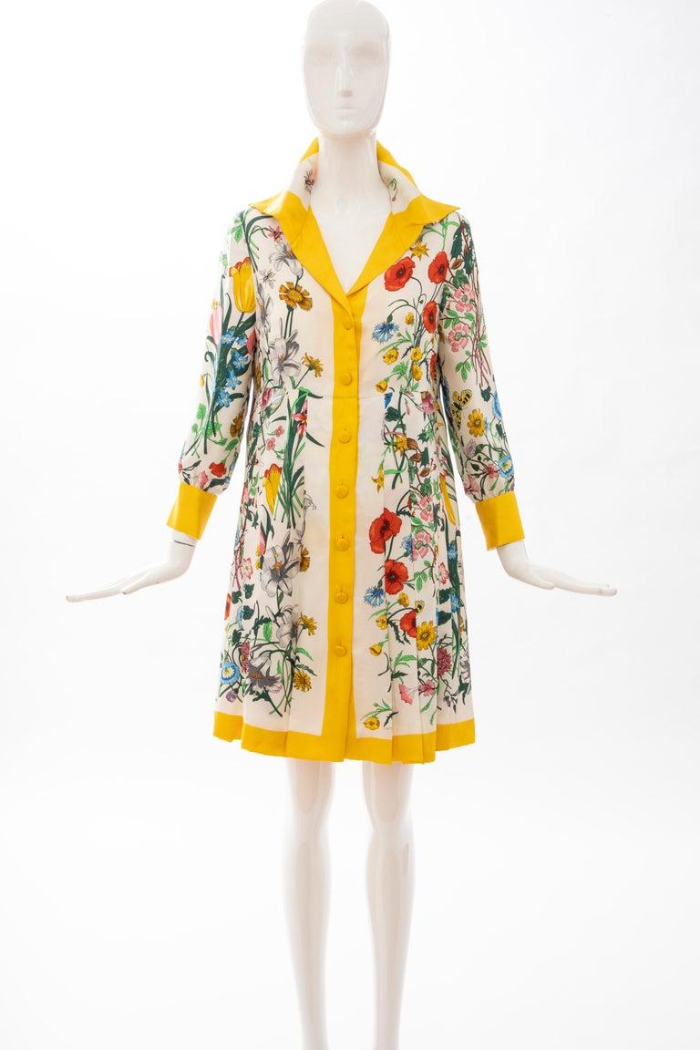 Beige Gucci Vittorio Accornero Flora Fauna Screen Printed Silk Dress, Circa: 1970's For Sale