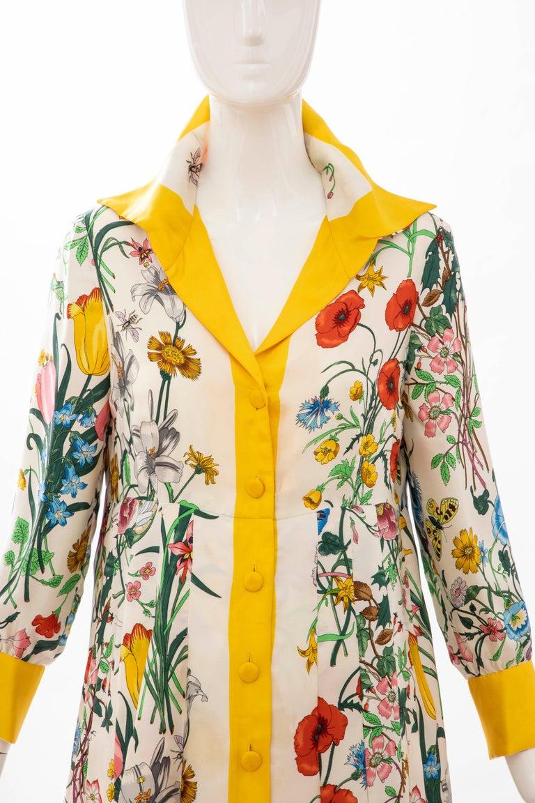 Gucci Vittorio Accornero Flora Fauna Screen Printed Silk Dress, Circa: 1970's In Good Condition For Sale In Cincinnati, OH