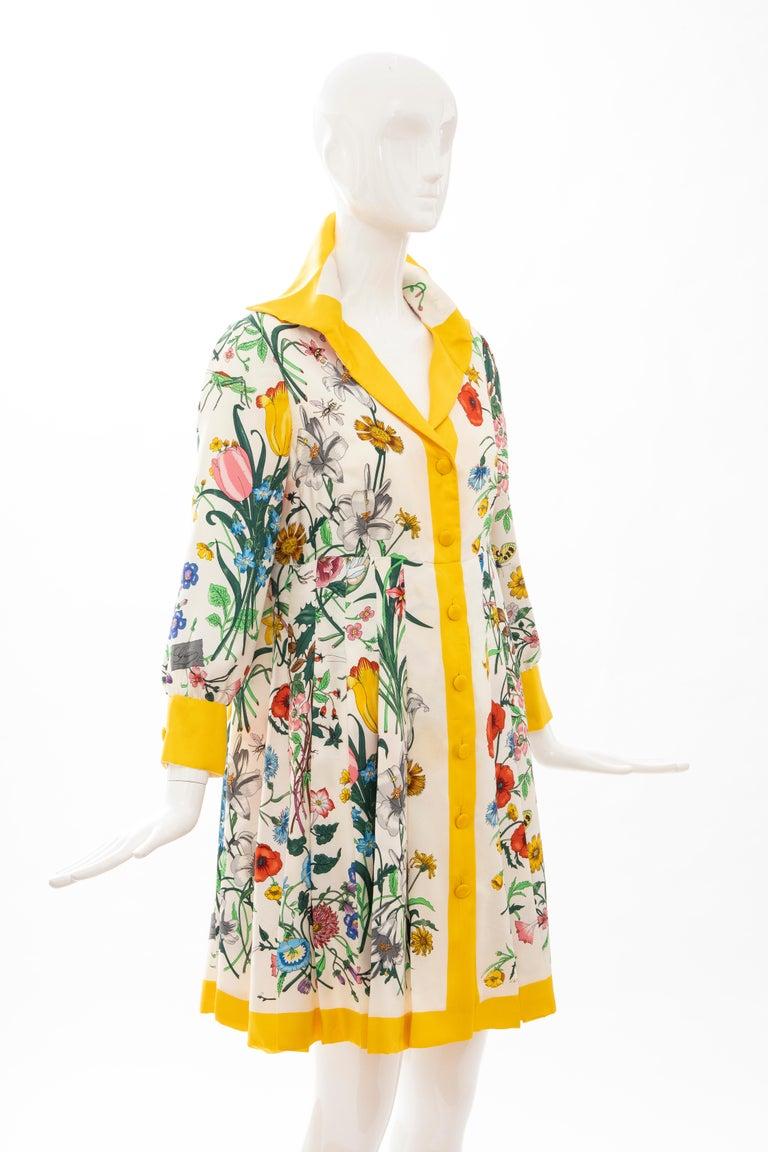 Women's Gucci Vittorio Accornero Flora Fauna Screen Printed Silk Dress, Circa: 1970's For Sale
