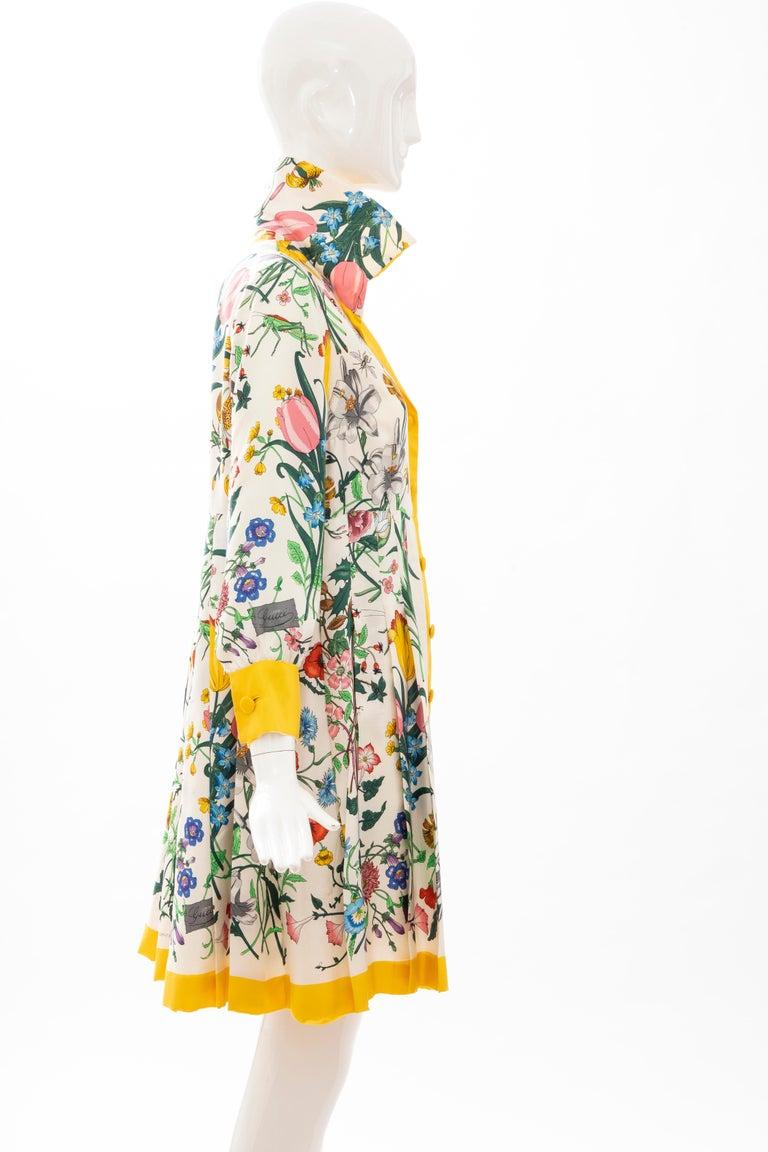 Gucci Vittorio Accornero Flora Fauna Screen Printed Silk Dress, Circa: 1970's For Sale 1
