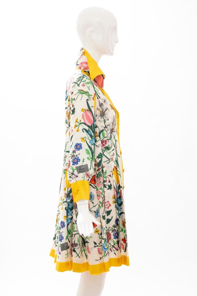 Gucci Vittorio Accornero Flora Fauna Screen Printed Silk Dress, Circa: 1970's For Sale 2