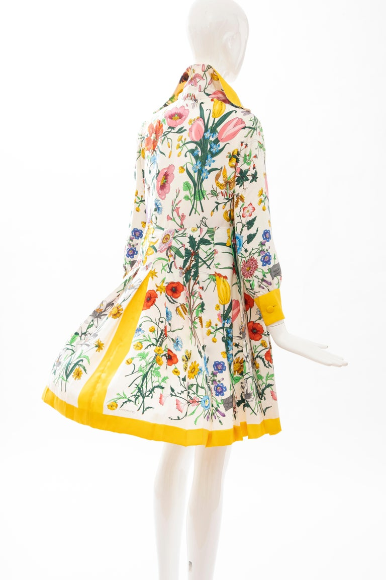 Gucci Vittorio Accornero Flora Fauna Screen Printed Silk Dress, Circa: 1970's For Sale 4