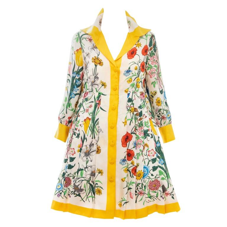 Gucci Vittorio Accornero Flora Fauna Screen Printed Silk Dress, Circa: 1970's For Sale