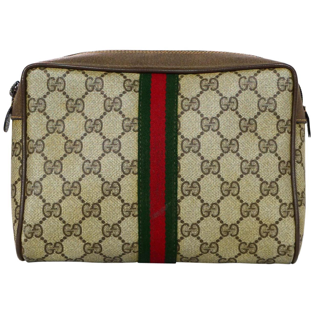 6377d866779 Gucci monogram supreme canvas clutch bag cosmetic case red green jpg  768x768 Vtg gg monogram