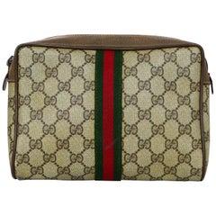Gucci Vtg GG Monogram Supreme Canvas Clutch Bag/Cosmetic Case W/ Red/Green Web