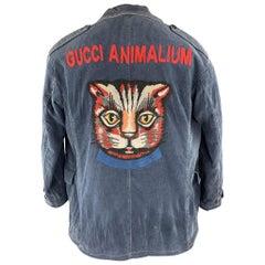 GUCCI Washed Navy Washed Corduroy Embroidered Cat ANIMALIUM Jacket