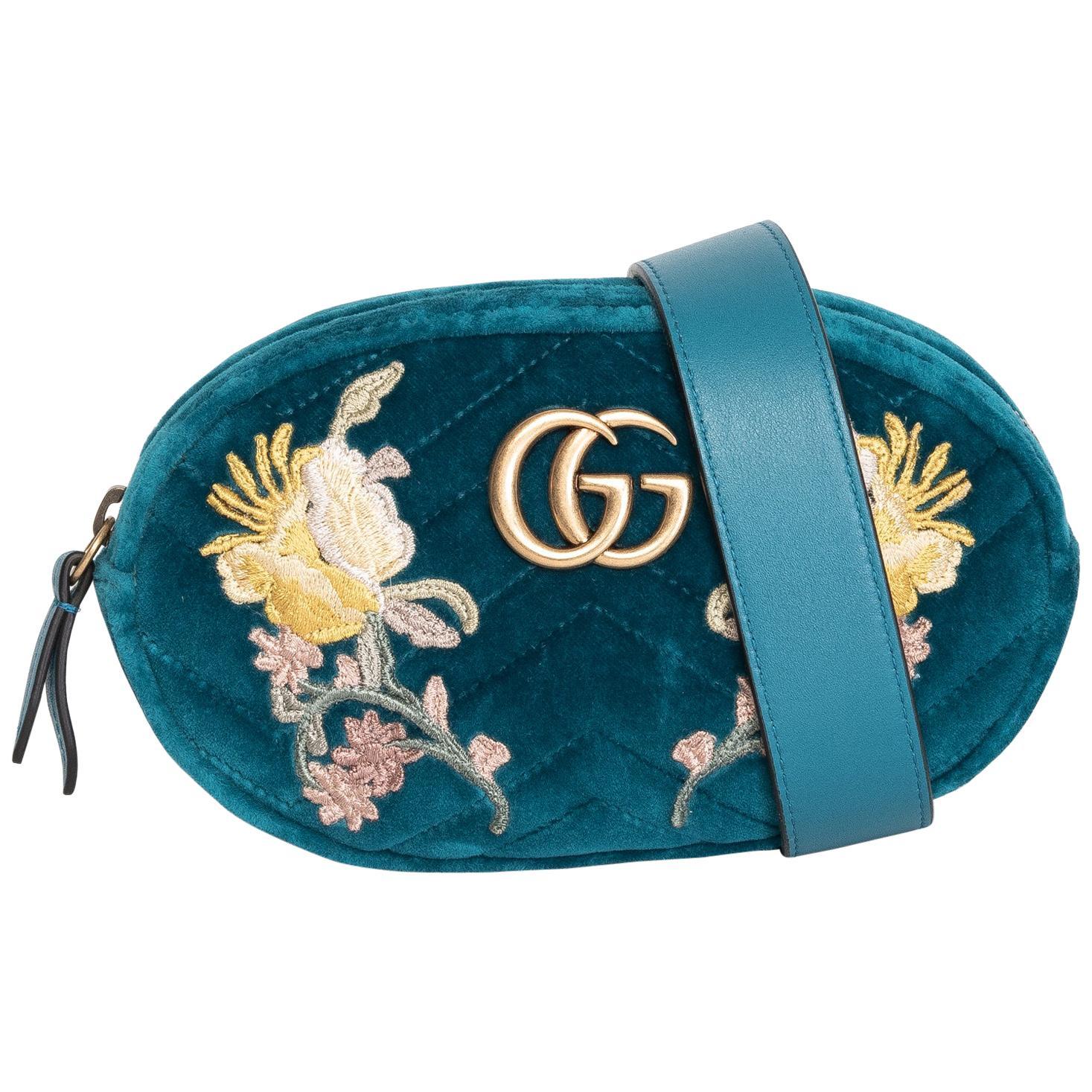 Gucci Water Green Velvet Embroidered GG Marmont Belt Bag