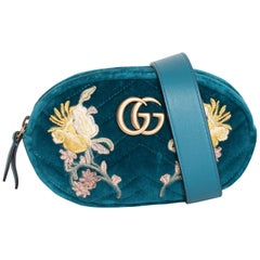 Gucci Water Green Velvet Embroidered GG Marmont Belt Bag
