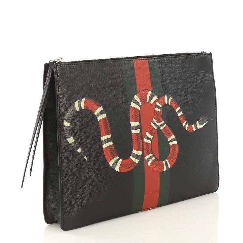 ca72deb37fc Gucci Web and Snake Messenger Bag Printed Leather Large at 1stdibs