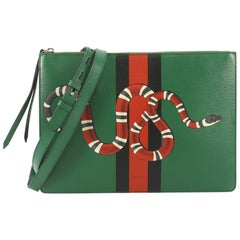 Gucci Web and Snake Messenger Bag Printed Leather Large