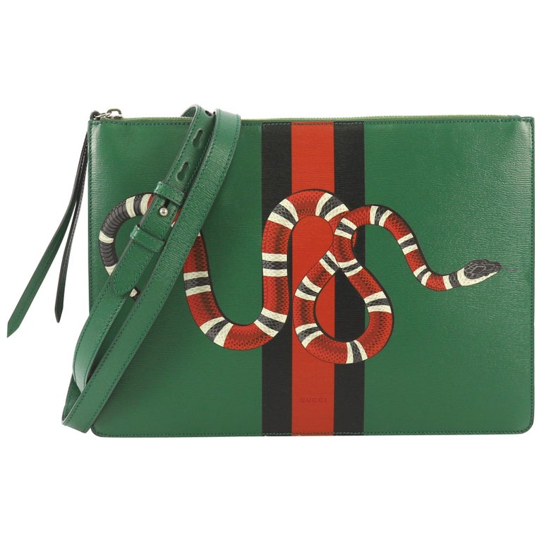 16dc68b98 Gucci Web and Snake Messenger Bag Printed Leather Large For Sale at ...