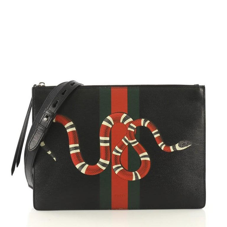 cb921100012db4 Gucci Web and Snake Messenger Bag Printed Leather Large For Sale at ...
