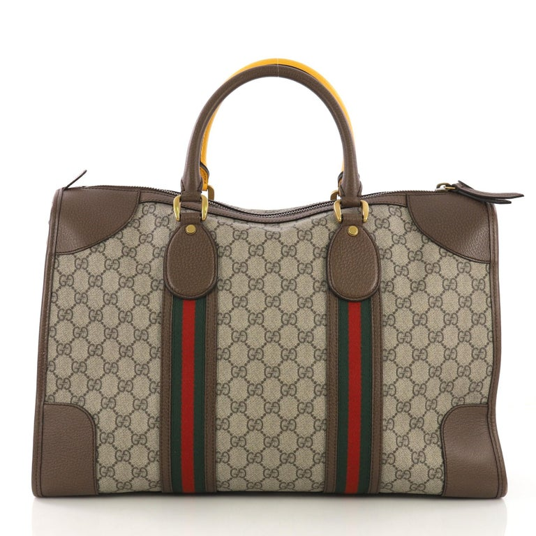 93635a8c585 Gucci Web Convertible Duffle Bag GG Coated Canvas Medium In Excellent  Condition For Sale In New