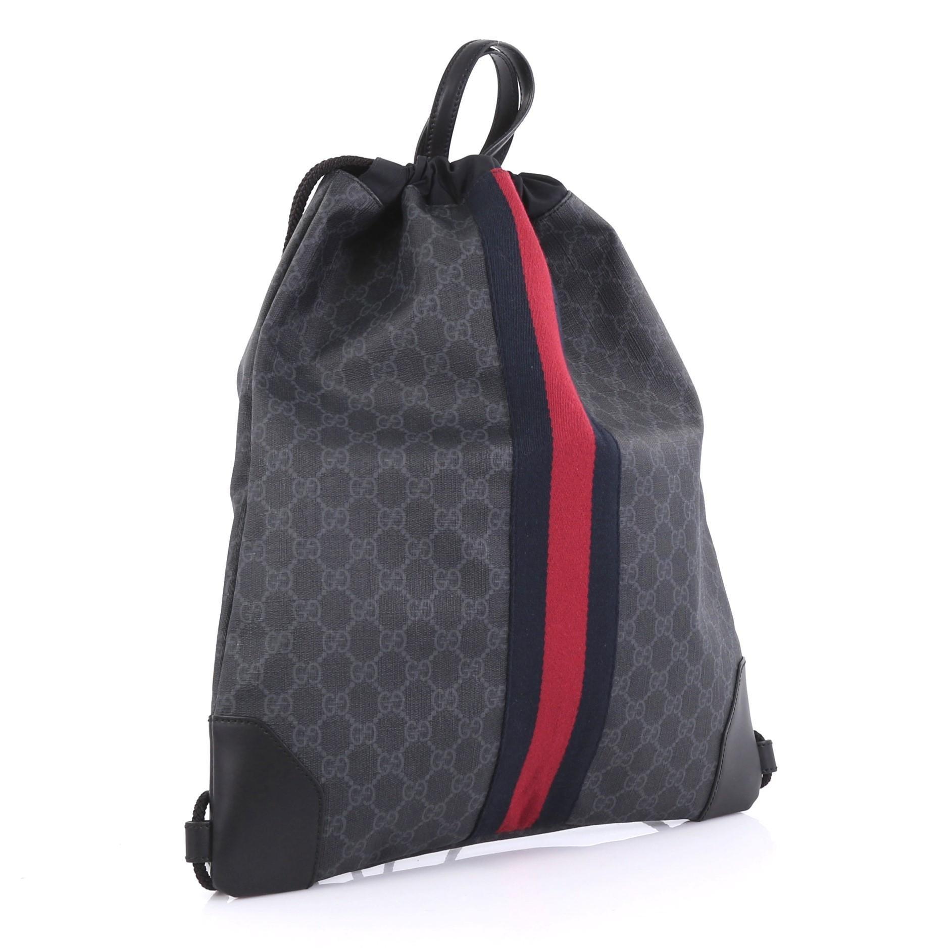 b5f252b714b9 Gucci Web Drawstring Backpack GG Coated Canvas Large at 1stdibs