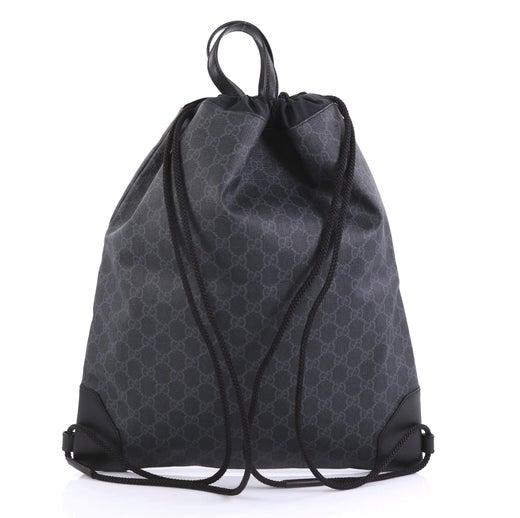 9b4830ad18605e Gucci Web Drawstring Backpack GG Coated Canvas Large at 1stdibs