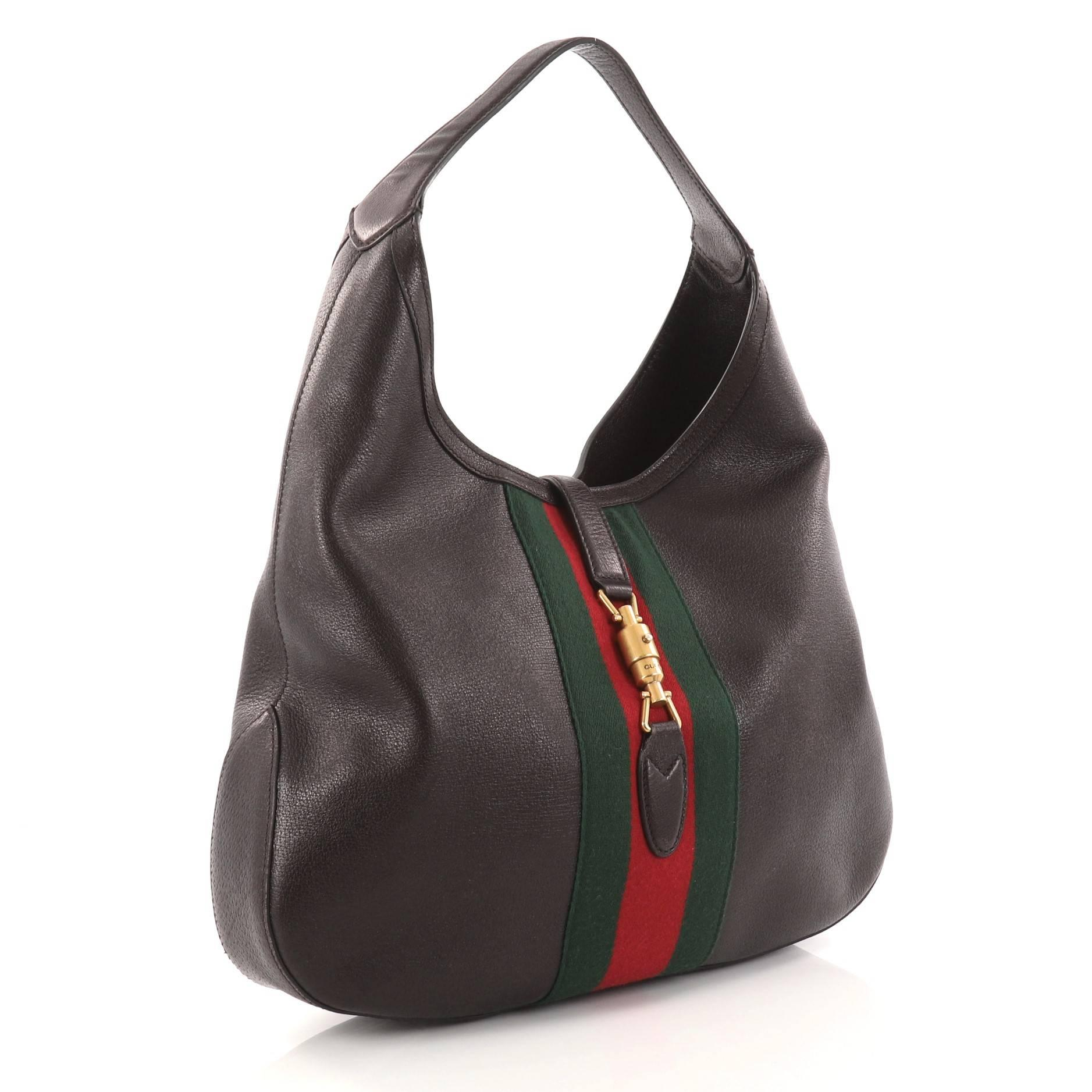 0412b2795e4 Gucci Web Jackie Soft Hobo Leather Large at 1stdibs