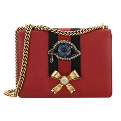 Gucci Web Peony Chain Shoulder Bag Embellished Leather Medium