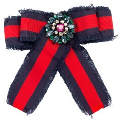 GUCCI web red and navy grosgrain Bow Brooch