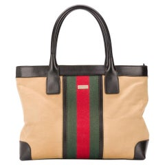 Gucci Web Striped Canvas Shopper Bag