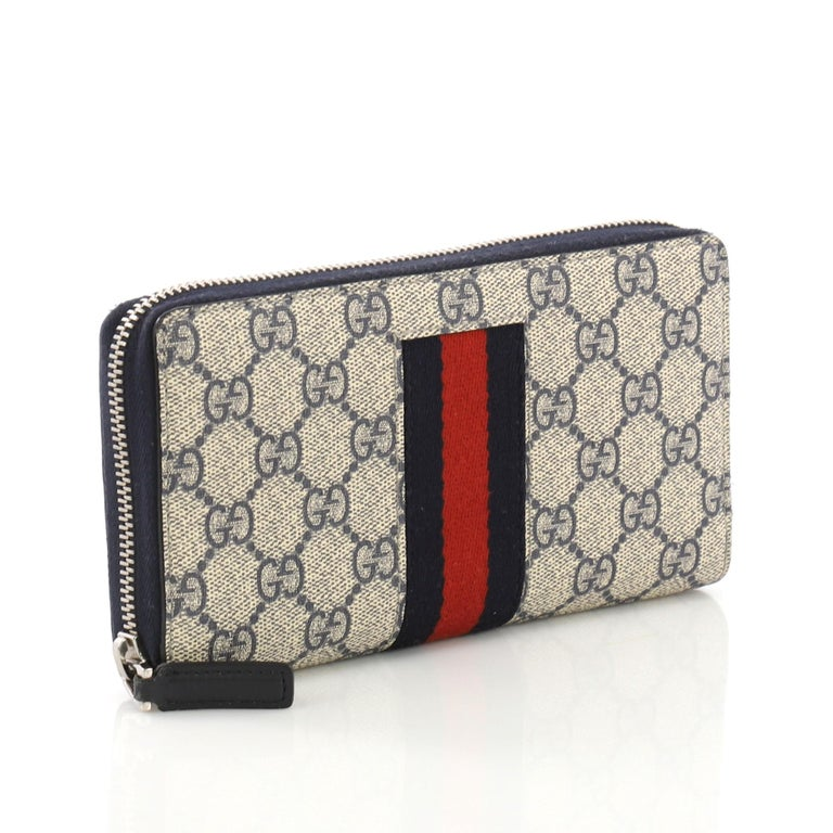 7d2e2d145e1b Gray Gucci Web Zip Around Wallet GG Coated Canvas For Sale
