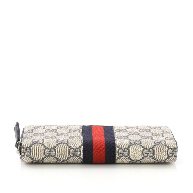 70493f8d6237 Women's Gucci Web Zip Around Wallet GG Coated Canvas For Sale
