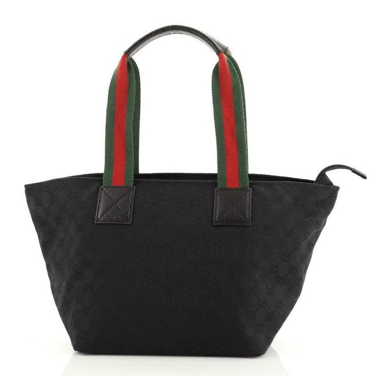 Black Gucci Web Zip Tote GG Canvas Medium For Sale