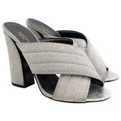 Gucci Webby Metallic Silver Mules Size 41