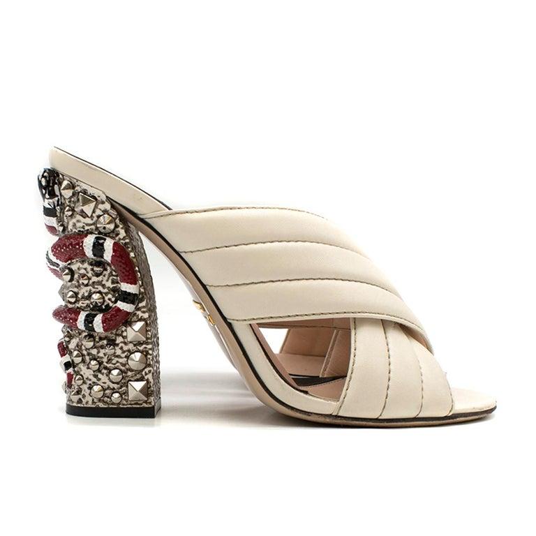 4daa2a475 Gucci Webby Quilted Leather Snake-Heel Mule Sandal - 'Webby' Mule Sandal -