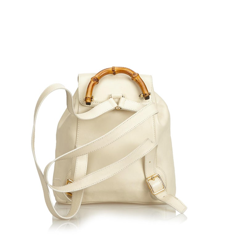 Gucci White Bamboo Leather Drawstring Backpack At 1stdibs