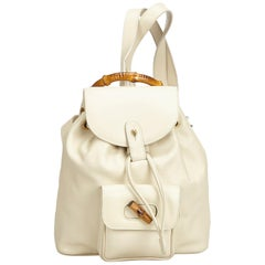 Gucci White Bamboo Leather Drawstring Backpack